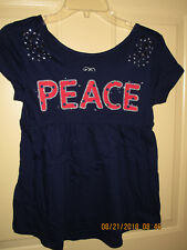 """JUSTICE """" peace"""" cap sleeves navy blue top ,princess seam ,size 10/12 ,NEW"""