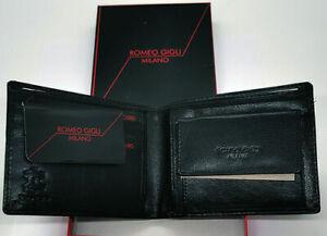 Romeo Gigli Portafoglio Uomo In Vera Pelle Nero Porta Carte di Credito e Monete