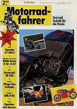 Motorradfahrer 5/90 1990 BMW R 80 EML Kawasaki EN 500 XT 600 E Gilera RC 600