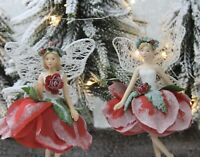 Gisela Graham Set 3 Red /& Gold Fairies on soap bubble Hanging Christmas 16998
