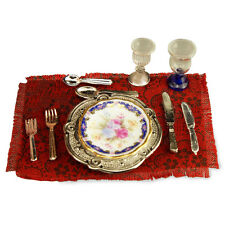 Reutter Porzellan Gedeck Royal Blue Royale Dinner Setting Puppenstube 1:12