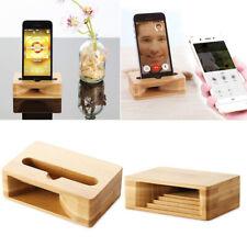 Universal Bamboo Phone Holder Sound Speaker Amplifier Desk Dock Stand for iPhone