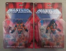 Lot of 2 MOTU Man-E-Faces, Red & Blue Sword Chase Variant Figures, Sealed