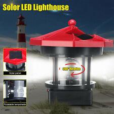 Lighthouse Solar Led Light Garden Outdoor Beacon Rotating Beam Lamp Decoration