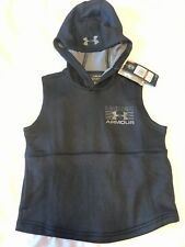 NWT Boys Under Armour SLEEVELESS HOODIE Size Youth XS Black/ Gray $39