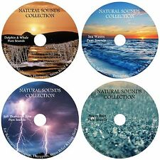 4 CDs:NATURE SOUNDS:DOLPHIN & WHALE SEA WAVES THUNDER & RAIN & HEAVY RAIN