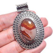"925 Sterling Silver Noreena Jasper Gemstone Handmade Vintage Pendant 2.25"""