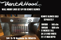 Vent A Hood Liner - Remote Blower 34 3/8 Width 22 1/2 Depth Blower Sold Seperate