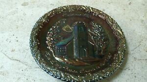 FENTON GLASS 1970 THE LITTLE BROWN CHURCH IN THE VALE - CHRISTMAS PLATE NO. 1