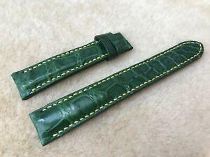 18mm/16mm Genuine Alligator Crocodile Leather Watch Strap Band, Green