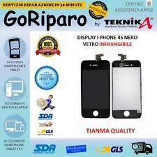 DISPLAY VETRO LCD TOUCH FRAME PER I PHONE 4S NERO QUALITA' ORIGINALE TIANMA