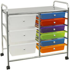 Metal and Plastic 9 Drawer Storage Trolley - Silver / Multi-coloured BAG093AS