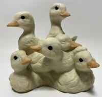 Vintage HOMCO Masterpiece Porcelain Baby Ducks Figurine Dated 1988 Tamiki Mizuno