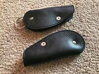 Handmade Car KeyChain Black Supreme Leather Leaf Key Rings Keys Holder Lot of 2