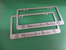 """(2)NEW """" MERCEDES-BENZ """" Stainless Steel license plate frame +screw caps"""