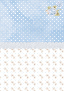 10 A4 Debbie Moore Blue Spots and Flowers Card 350gsm