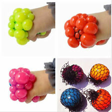 New Anti Stress Face Reliever Squishy Mesh Ball Grape Squeeze Relief Healthy Toy