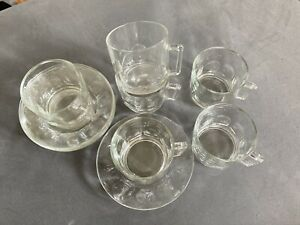 Set of 6 Vintage Arcoroc Cups & Saucers