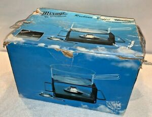 Vintage 1970s mod Rechaud Buffet Warmer & Glass Saucepan Kit NIB New In Box mcm