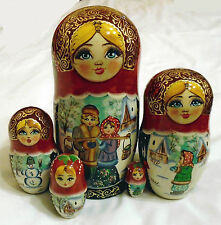Bambole fatte a mano di nidificazione paio inverno matrioska russa babushka arte