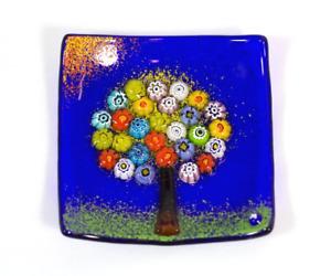 Murano Glass Tree of Life Plate, (Small/Cobalt)