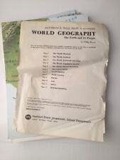Harcourt World Geography Maps Reference Wall Map Set of 12 Vintage 1989