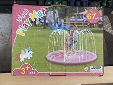 "67"" Unicorn Splash Pad for Kids Water Sprinkler Pad. Pink Sprinkler Play Mat"