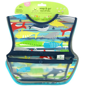 Snap & Go Wipe Off Bibs, 9-18 Months, Blue Whales, 3 Pack