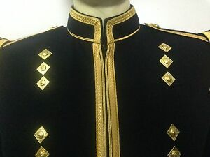 Piper or Drummer Doublet Black Blazer Wool With Gold Braid And Trim
