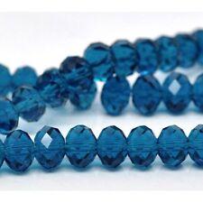 70 PEACOCK BLUE RONDELLE FACETED CRYSTAL QUARTZ BEADS~ 5040 ~8mm~ BRACELET (54C)