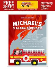 8 Fireman Firefighter Fire Truck Birthday With Photo Invitations