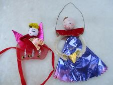 Vintage Pair of Pipe Cleaner Foil Angel Christmas Tree Ornaments