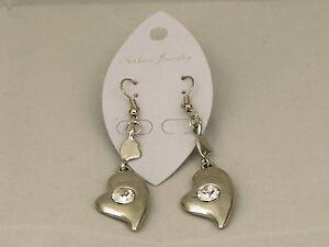 Ladies dangle drop heart shaped Earrings costume fashion jewellery silver colour