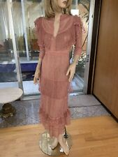 Lim's Vintage Intricate & Delicate All Hand Crochet Maxi Dress, One Size S, Rose