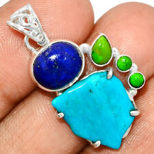 Sleeping Beauty Turquoise Rough & Lapis 925 Silver Pendant Jewelry AP217418