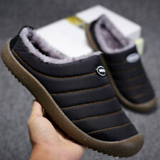 Men Warm Cotton Slippers Fur Lined Slip on Shoes Winter For Outdoor Indoor 38-47