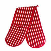 Oven Glove  Butchers Stripe Double Oven Glove  Double Oven Gloves Red  White