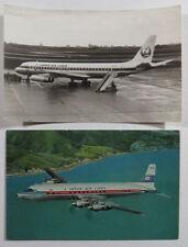 JAL Japan Air Lines Original B&W DC8 Plane Photograph And DC-7C Postcard