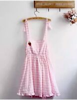 Tartan Pink White Dress Skirt Cosplay Babygirl Goth Emo Hippy Boho