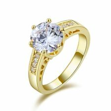 Halo Size 7 White Topaz Delicate 18K Gold Filled Wedding Engagement Womens Ring