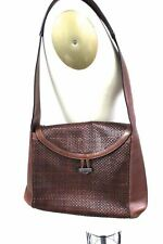 Authentic Vintage Bally Cognac Woven Leather Shoulder Bag Purse 1980s