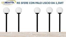 PZ5 LAMPIONE  LAMPIONCINO DA GIARDINO KIT COMPLETO  CON PALO E SFERA OPACA