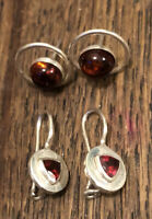 Two Pairs 925 Sterling Silver Earrings Garnet Dangle Amber Studs