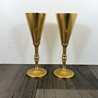 AUTHENTIC VINTAGE PAIR SKULTUNA 1607 BRASS CANDLESTICKS GOBLET DESIGN RARE