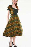 DRA8621 Voodoo Vixen Ella tartan flared Dress Green New UK Gift Vintage UK8-16