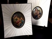 """Paire of Antique Italian miniature"""" According RAPHAEL Madonna of the Chair"""""""