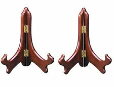 Set of 2 ~ Rosewood Plate Display Easel Stand Holders 5""
