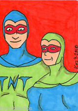 TNT & DAN THE DYNA-MITE ACEO Sketch Card by Korey
