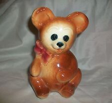 Vintage Brown Teddy Bear Planter Red Bow Thick Pottery Baby
