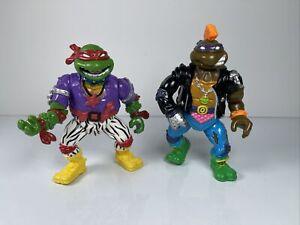 Vintage 1991 Playmates TMNT Heavy Metal Raph Raphael & Punker Don Donatello